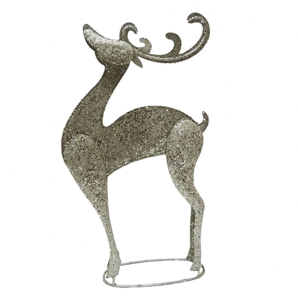 Large champagne glitter metal reindeer freestanding